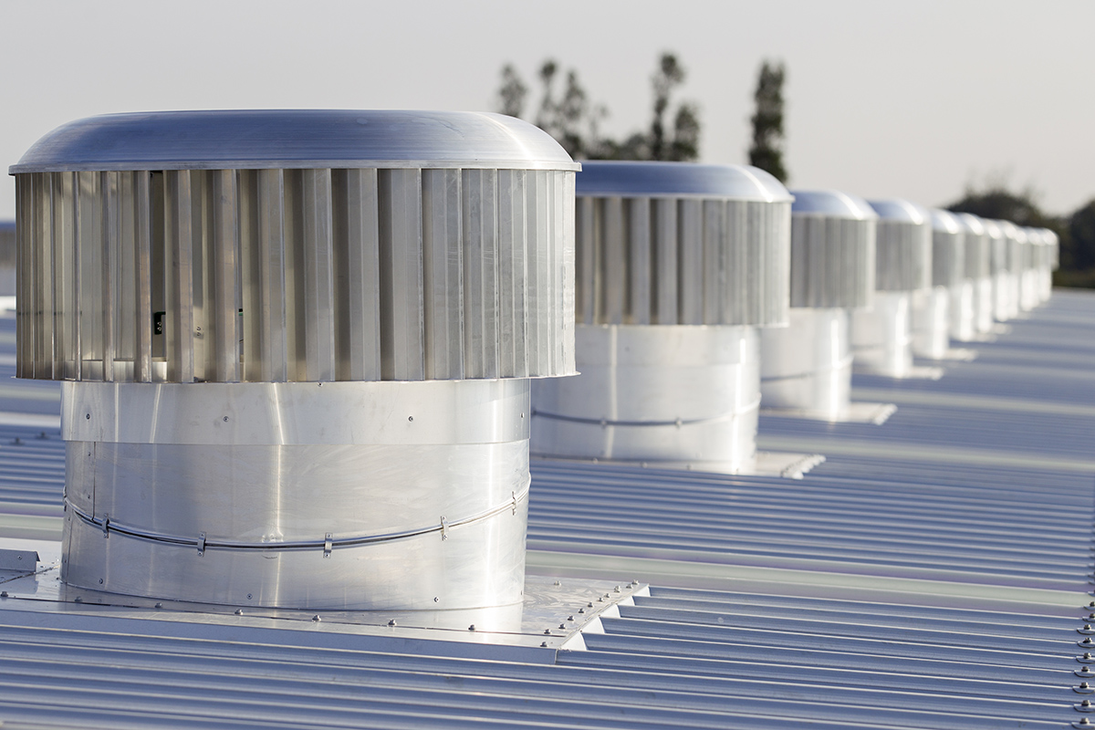 Roof ventilators on metal roof